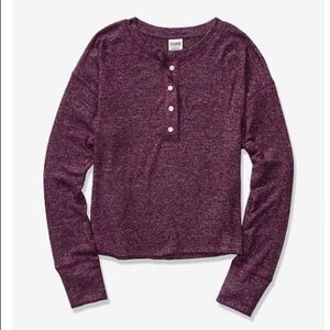 PINK Long Sleeve Henley